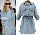 Women long sleeve denim dress jean skirt shirt tops cocktail dress plus size