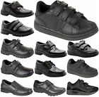 KID BOYS INFANT VELCRO STRAP SLIP ON LEATHER FORMAL BLACK BACK SCHOOL SHOES SIZE