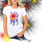 Ladies T-shirt Red Dahlia Flower Watercolor Art Sizes XS-2X