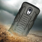 Hybrid Rugged Armor Hard Impact Case Kickstand Cover Rubber Shockproof Holster
