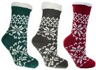 Ladies Fairisle Fleece Lined Chunky Slipper Socks