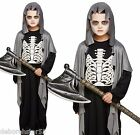Child Grim Reaper Grave Digger Zombie Skeleton Fancy Dress Costume age 4-12 New