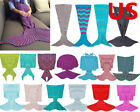 US Mermaid Tail Sofa Blanket Super Soft  Hand Crocheted Knitting Wool Adult/Kid  image
