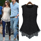 New Ladies Women Lace Blouse Sleeveless shirt Doll Chiffon Tops S-5XL AAA