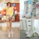 Women's Round Toe Booties Ankle Boots Flower Printing Shoes Block Heels Lace Up