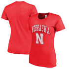 Nebraska Cornhuskers New Agenda Womens Big Arch & Logo Ring Spun  T-Shirt - Red
