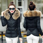 New Winter Women's Down Cotton Parka Short Fur Collar Hooded Coat Quilted Jacket