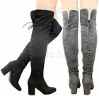 Ladies Womens Over The Knee Thigh High Lace Up Stretch Mid Heel Boots Shoes Size