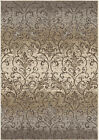 Orian Gray Curls Swirls Flowers Leaves Contemporary Area Rug Geometric 4210
