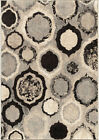 Orian Gray Contemporary Synthetics Ovals Pointed Rings Area Rug Geometric 4302