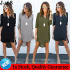 Women Blouse Chiffon Long Sleeve Ladies T Shirt Casual Loose Long Tops Dress Lot