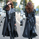 Womens PU Leather Super Long Jacket Trench Coat Large Lapel Collar Fashion Black