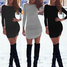 Womens Bodycon Long Sleeve Dress Ladies Party Evening Mini Dress Size S - XL New