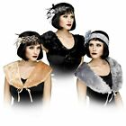 Adult Womens Flapper Stole 1920 Gatsby Cosplay Costume Stole Black Silver Collar