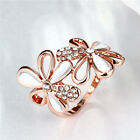 5x Clear Rhinestone Double Flower Style Hollow Charms Rings Rose Gold Size 6-8 D