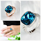 5pcs Glass Big Blue Stone Rhinestone Wedding Jewelry Charms Rings Size 6-8 D