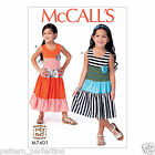 McCall's 7401 Sewing Pattern to MAKE Easy Girls' Tiered, Sleeveless Knit Dresses
