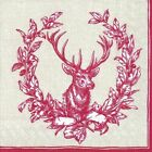 COUNTRY DEER red paper 33cm square 3 ply lunch napkins 20 in a pack