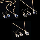 Fashion Women's  Filled Sapphire necklace earrings ring jewelry set Gift tb