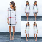 Women Casual Plaid 3/4 Sleeve Ladies V Neck Shirt Long Tops Dress Summer Autumn