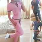2pcs Women Casual Short Sleeve Tops+Long Pants Tracksuits Loose Sports Suits Set