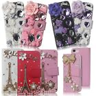 3D Luxury Flip Leather Wallet Rhinestone Case Cover with Bli