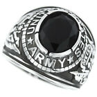 US Army Jet Black Stone Military Silver 316 Stainless Steel Mens Ring
