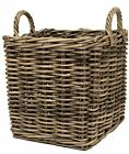 e2e Grey Kubu Rattan Wicker Strong Square Storage Display Kindling Log Basket