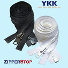 ZipperStop YKK® #10 Molded Plastic Separating ~ White ~ Jacket Zipper (12)VISLON