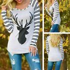 New Fashion Womens Stripe Long Sleeve Top Deer Pattern Casual T-Shirt Sweatshirt