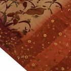 Vintage Saree Pure Crepe Silk Hand Embroidered Printed Scrap Fabric for Craft