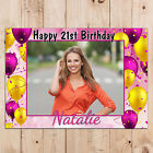 Personalised 18th 21st 30th 40th 50th Happy Birthday PHOTO Poster Banner N89