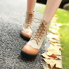 Hot Women Round Toe Hidden Flat Heels High Top Ankle Boots Lace Up Riding Shoes