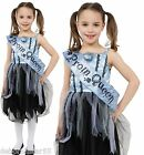 Girls Bloody Zombie Prom Queen Halloween Fancy Dress Costume Child Age 4-12