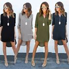 Women's Chiffon Dress Casual Long Sleeve V-neck Asymmetrical Shirt Dress Spring