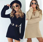 Womens Long Sleeve Shirt Blouse Loose Tops Evening Party Cocktail Mini Dress Lot