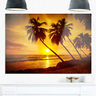 Beach Sunset in Island Barbados - Modern Seascape Glossy Metal Wall Art