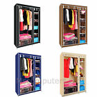 Double Fabric Canvas Wardrobe With Hanging Rail Shelving Home Storage
