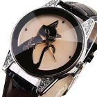 New Fashion Women Girl Crystal Cat Leather Analog Sport Quartz Wrist Watch