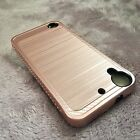 HTC Desire 530 - Brushed Metal Texture Hybrid Hard Phone Case Cover Armor Shield