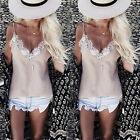 Fashion Summer Women's Sleeveless Casual Tops Blouse Lace Floral T-Shirt Tops TB