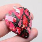 """100% SOLID 925 STERLING SILVER PINK COPPER TURQUOISE LOVE HEART PENDANT 1 3/4"""""""