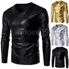 Men's Long Sleeve Casual Shirts Synthetic Leather Tee Tops T-Shirts Blouse S-L