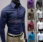 Fashion Mens Luxury Casual Slim Fit Solid Formal Dress Shirts Long Sleeve Tops