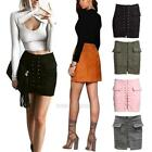 Fashion Women's High Waist Lace Up Suede Leather Pocket Short A-line Skirt Dress