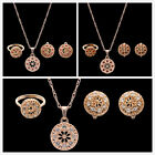 Fashion Rose Gold Women's Hollow Ball Rhinestone Necklace Earring Jewelry Set D