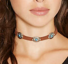 Boho Pretty Velvet Leather Choker Turquoise Gem Pendant Necklace Chain Jewelry