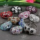 1pc Crystal Studded Evil Eye Finger Rings Women us6.5 Adjustable Fashion Jewelry