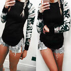 Women New Long Sleeve O-neck Camouflage Sleeve Splicing Slim Casual T-shirt TB