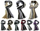 BONAMART Black/White Scarves Men Scarf Tassels Long Striped Knit Shawl